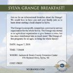 Sylva Grange Breakfast flyer image