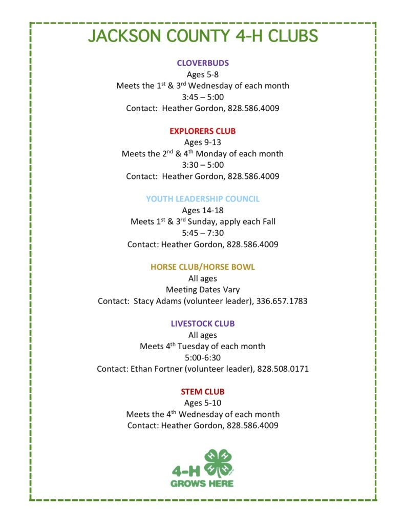 4-H Clubs flyer image