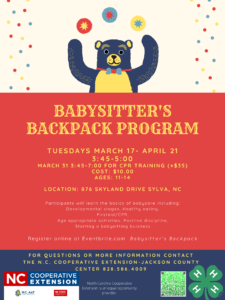 Cover photo for Babysitter's Backpack Program