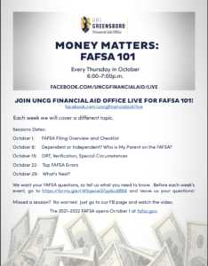 Cover photo for Upcoming CFNC RDS/FAFSA/Financial Aid 101 Webinars & UNCG Financial Aid Webinars