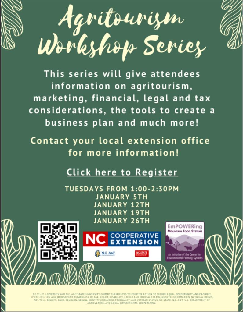 Agritourism Workshop Series flyer
