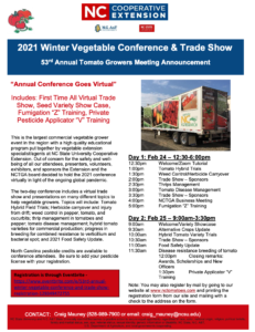 Cover photo for 2021 Winter Vegetable Conference & Trade Show -  53rd Annual Tomato Growers Meeting Announcement
