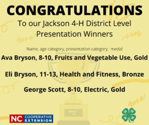 Cover photo for CONGRATULATIONS to Our Jackson 4-H District Level Presentation Winners