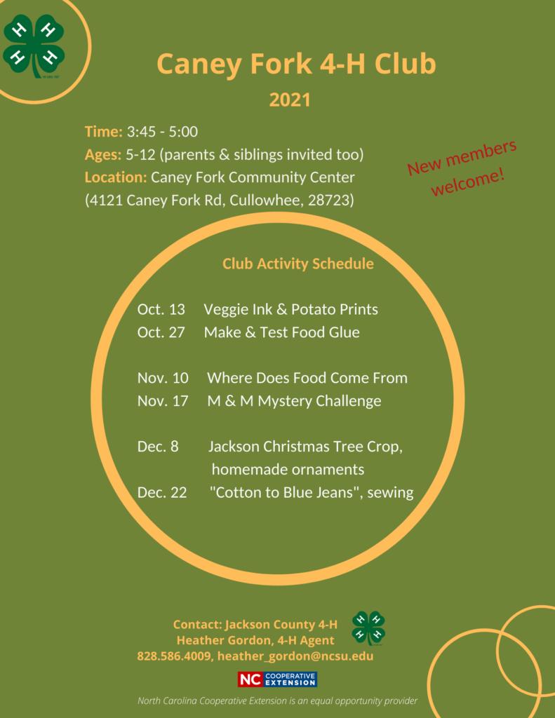 Caney Fork 4-H Club flyer